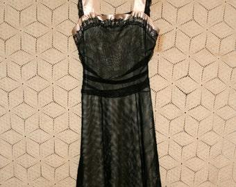 Vintage Clothing Women Dress XS Teen Junior Black Tulle Goth Party Dress Sleeveless Midi Size 0 Dress