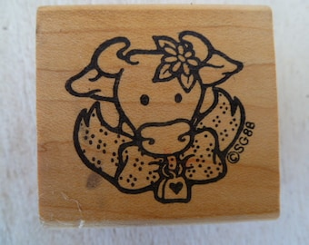 Vintage Cow Susan Gray Rubber Stamp
