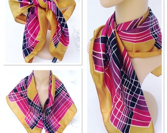 Vintage 1960s 70s CZARINA Gold Purple Pink Pattern Print Scarf Made In Italy 70s Retro