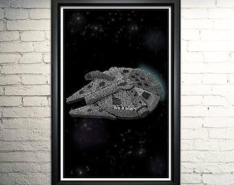 "Star Wars Millennium Falcon FRAMED word art print - 11x17"""