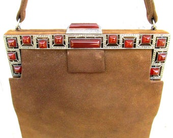 1920's Purse with Sterling Silver Frame Set with Marcasite and Carnelian Stones - Brown Suede -  ANTIQUE Art Deco