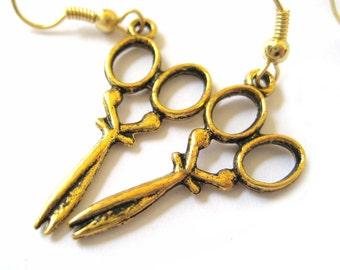 Gold Scissors Jewelry Scissor Earrings Kitsch Earrings Crafty Gal Hair Dresser Stylist Gift 088