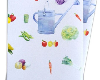 Vegetable allotment gardening gift wrapping paper; 2 sheets 50cm x 70cm
