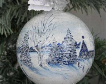Christmas Ornament Painted  - Hand Painted Ornament - Winter Scene Ornament - Hand Painted Ornament - Christmas Gift Glass Ornament Painted