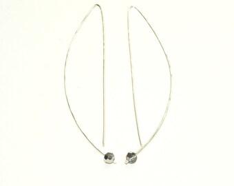Sterling Silver Wire Earrings - Threader earrings - Swarovski Crystal - Modern Earrings  - Minimalist Jewelry