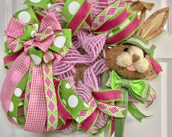 Bunny wreath, Easter wreath, Easter bunny wreath, Easter wreath for front door, Easter decoration, Bunny front door wreath,Easter decor