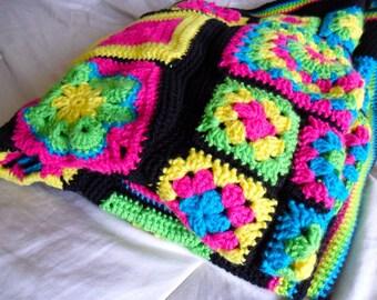 Granny Square Sampler Afghan - Granny Square Sampler Blanket - Granny Square Blanket - Granny Square Afghan - 54 in. x 37 in.