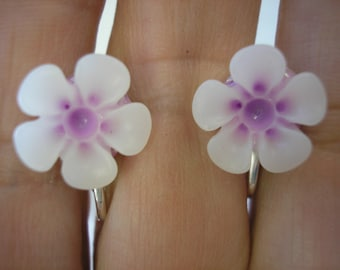 """Play Earring - Clip or Pierced - Hibiscus - Two Tone Flower - Tropical Flower - White/Lavender - 1/2"""""""