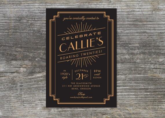 Items similar to Roaring 20s Birthday invitation 1920s Gatsby
