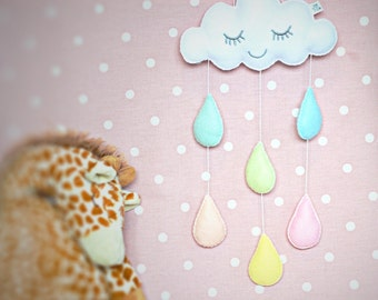 rainbow mobile, cloud nursery mobile, rain cloud mobile, cloud wall hanging, pastel rainbow raindrops baby shower gift home decoration cot
