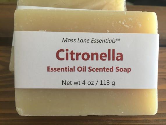 Citronella Essential Oil Scented Cold Process Soap--Citronella, Eucalyptus, Tea Tree, Lemongrass