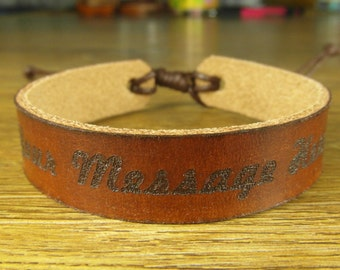 personalized engraved leather bracelet, cuff leather bracelet for men and women