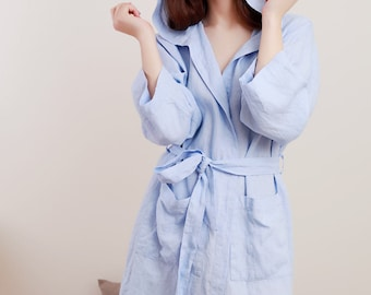 Linen Bath Robe Hooded Short/  Oversize  Longsleeve Gown/  Belted Night Gown/ Organic Spa Robe/ Linen Gift For Her