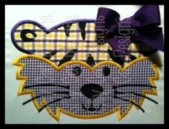 Tiger Girl Applique Machine Embroidery Design