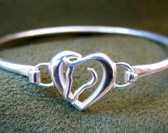 Sterling Silver Hearts 'N Horses Bangle Bracelet