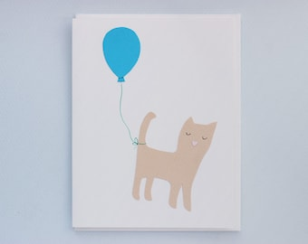 Birthday Cat with Balloon - papercut collage card