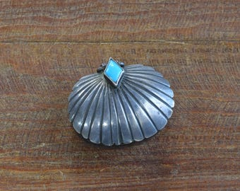 Small Vintage Sterling Silver Turquoise Pill Box