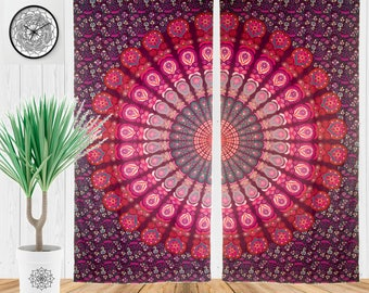Bohemian Living Room Curtains, Hippie Window Treatment, Boho Curtains For Bedroom, Gypsy Door Curtains