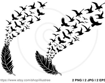 Feather with flying birds, digital clip art, clipart, instant download