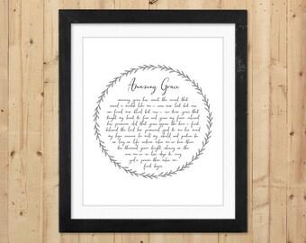 Amazing Grace Printable Wall Art / Christian Printable Hymn Lyrics / Amazing Grace Art Print / Instant Download Art