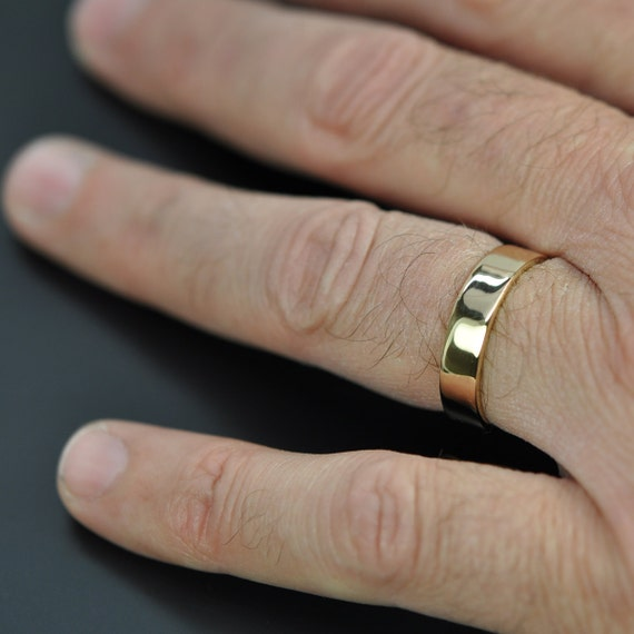 Top 5mm Wide Mens Gold Ring 18K Yellow Gold Wedding Band ST03