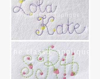 bean, vintage stitch lemon and strawberry monogram and lowercase letter font embroidery design