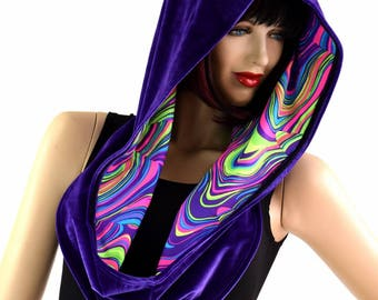 Reversible Infinity Festival Hood in Purple Velvet & UV Glow Worm - 154365
