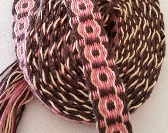 Boho chic, Handwoven, Inkle belt, handwoven inkle belt,Natural, Brown and Pink, Inkle belt, SCA, Renessance, mountain man.