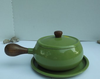Vintage Green Fondue Pot with Tray