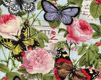 Paris Spring Butterflies and Roses - David Textiles - Half Yard