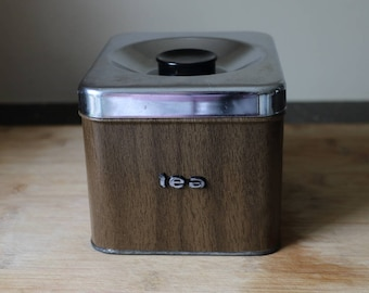 Faux Wood Tea Canister - The Queen Line