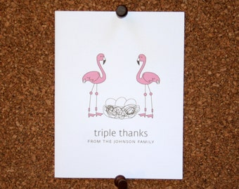 Flamingo Triplet Baby Thank You Cards. Triplet Baby Shower Thank You Cards. Triplet Baby Thank Yous. Personalized. Eggs in Nest (Set of 10)