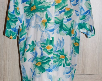Vintage style Tunic, Oversized Blouse, Short Sleeves,White Blue Green color, Size M