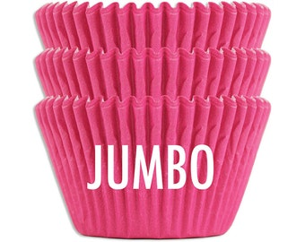 Jumbo Solid Electric Pink Baking Cups - 45 extra large bright hot pink paper cupcake liners