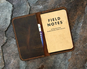 Personalized leather cover for pocket size field notes notebook / slim minimal field notes leather case cover FA605S