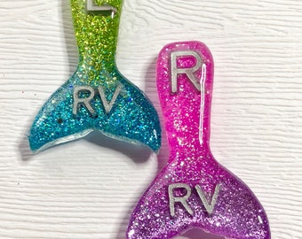 Mermaid Tail Xray Markers Customized with 2 Initials Pink/Purple and Teal/Green