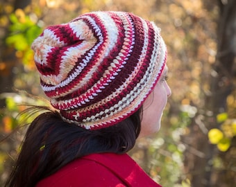 Ready to ship!! Shades of red striped slouchy hat, winter accessories for women, slouchy beanie hat, striped slouchy beanie