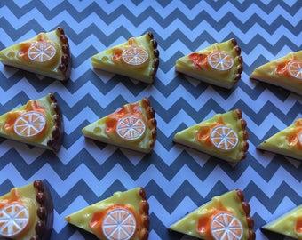 8pc. Large Lemon Pie, resin Cabochon
