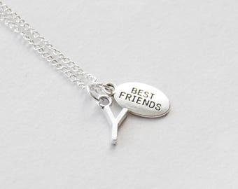 Best Friends Jewelry, Best Friends Necklace, Girlfriend Necklace, Gift for Wife, Initial Best Friend Necklace, BFF Jewelry