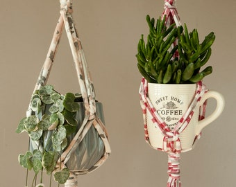 Set of 2 plant hangers - Macrame plant holders made from cotton tshirt yarn