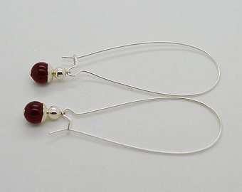 Garnet Sterling Silver Kidney Wire Earrings 30