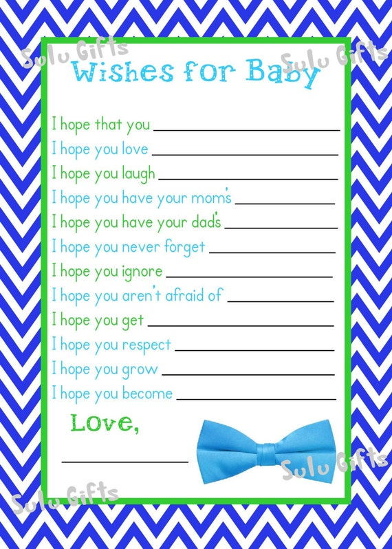 sale baby boy bow tie shower game wishes for baby advice cards