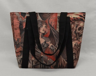 Red and Black Gothic Zippered Tote Bag with Pockets, Fabric Shoulder Bag, Sorceress vs Grim Reaper, Bats Skulls Ravens, Heavy Metal