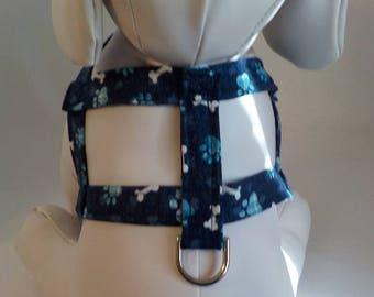 Dog Harness - Dog Clothes - Dog Harness - Dog Harnesses - Navy Bones - Custom Dog Harness  - Designer Dog Fashion - Small Dog Harness