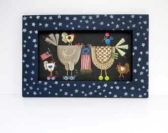 Patriotic Chickens with American Flags, Hand or Tole Painted, Framed in a Hand Crafted Reclaimed Pine Wood Frame,Americana,Folk Art Chickens