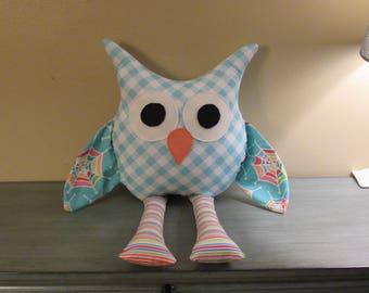 owl toy, softie toy owl, stuffed animal, ragdoll owl, pillow body soft toy
