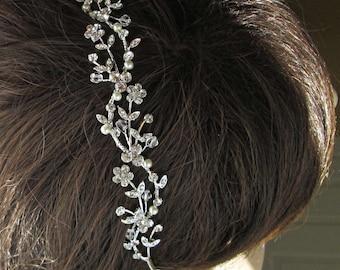 Sale, Wedding Headband Hair Vine Pearl Hairband Bridal Tiara Ivory Pearl headband pearl crystal silver wedding headpiece Bridal hairpiece