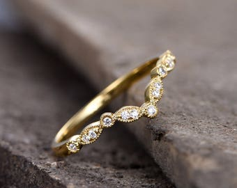 Anniversary rings for her yellow gold ~ Anniversary rings etsy