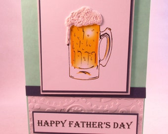 Happy Fathers Day, Fathers Day Card, Father's Day card, handmade card, masculine card, beer mug card, beer card, MADE TO ORDER
