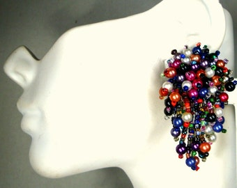 Multicolor Beaded Fringed Trashy Clip Earrings, Clusters of Party Colored Pearls and Metallic Dangles, 1960s Confetti Glam
